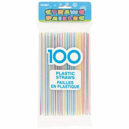 Striped Plastic Drinking Straws 100Pcs - image 1 de 1