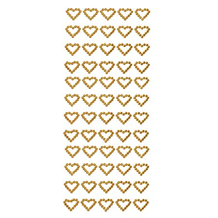 6 1/2 Inch Dimensional Stickers - Heart Rhinestone Stickers, 1/2-Inch, 60-Count, Gold