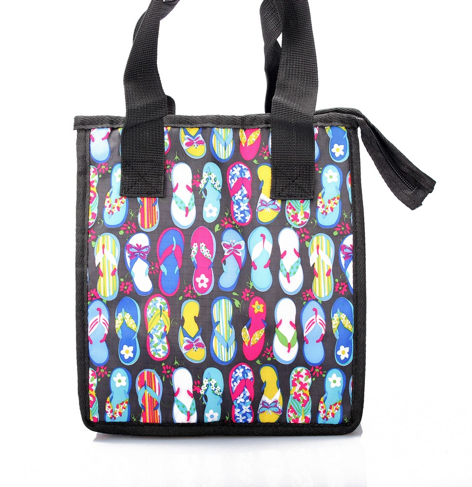 Hawaiian Print Thermal Insulated Zipper Lunch Bag Flip Flops in Black