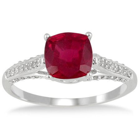 2.25 Carat Cushion Cut Ruby and Diamond Ring in 10K White Gold (Ruby Cushion Cut)