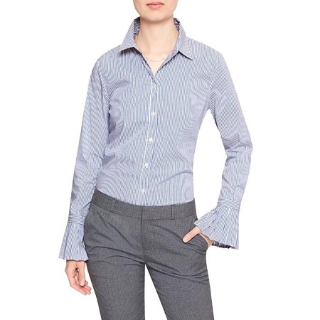 Striped Tailored Suit - New  4505-2 Banana Republic Womens Striped Pleat-Cuff Tailored Shirt (Blue,6, $64.99)