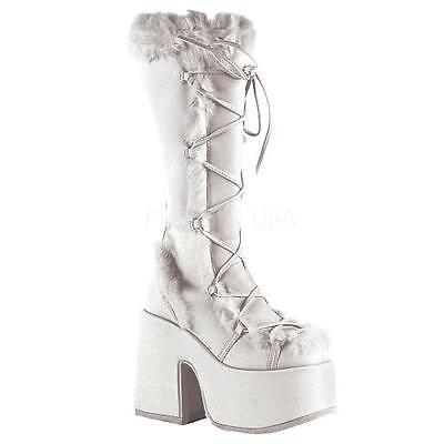 CAM311 W PU Demonia Platform Sandals & Shoes Womens WHITE Size: 10 by