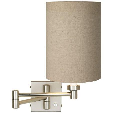 Possini Euro Design Tan Cylinder - Brushed Nickel Plug-In Swing Arm Wall Lamp
