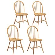 Costway Set of 4 Vintage Windsor Dining Side Chair Wood Spindleback Kitchen Room Natural