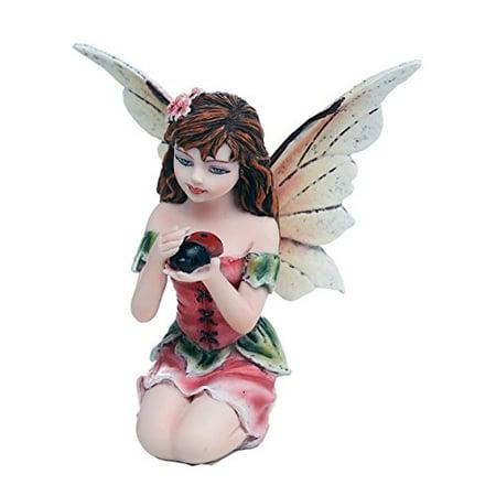 Fairy Garden Flower Fairy with Ladybug Decorative Mini Garden of Enchantment Figurine 3 Inch