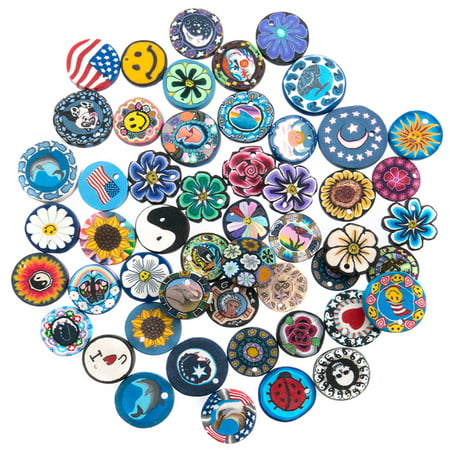 50 Pieces Assorted Designs Fimo Polymer Clay Disc Pendants for Jewelry Making - DIY Kit for Necklaces - Includes Free Gift Necklace, 12 Adjustable Wax Cords and 50 Jump (Polymer Clay Wire Jewelry)