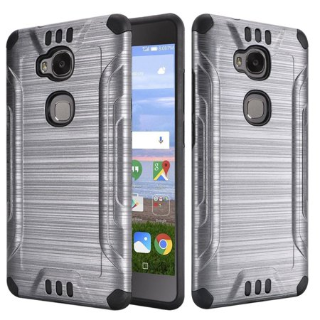 HR Wireless Dual Layer Hybrid Rubber Coated Hard Plastic/Soft Silicone Case Cover For Huawei Sensa LTE, Gray