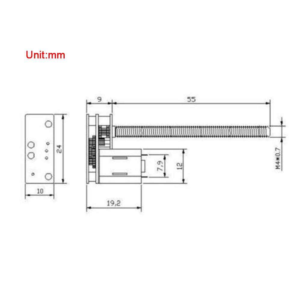 6V 30RPM DC 6V 12V Motor de engranaje 1024GA20 Hilo Flip N20 Motor de engranaje M4 x 55 mm Eje