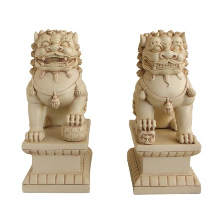 set of two guardian lion statues, stone finish, 18 (Stone Lion Statue)