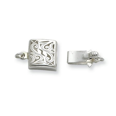 Sterling Silver 7.8mm Scroll Design Square Pearl/Bead