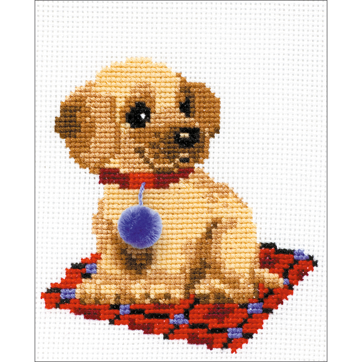 """Riolis Counted Cross Stitch Kit 6""""X7""""-Puppy (10 Count) - image 1 of 1"""