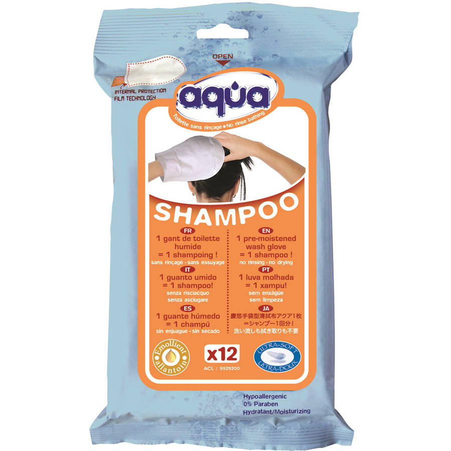 No Rinse Aqua Shampoo Gloves, 12 count