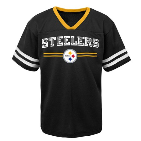 (Youth Black Pittsburgh Steelers Mesh V-Neck T-Shirt)