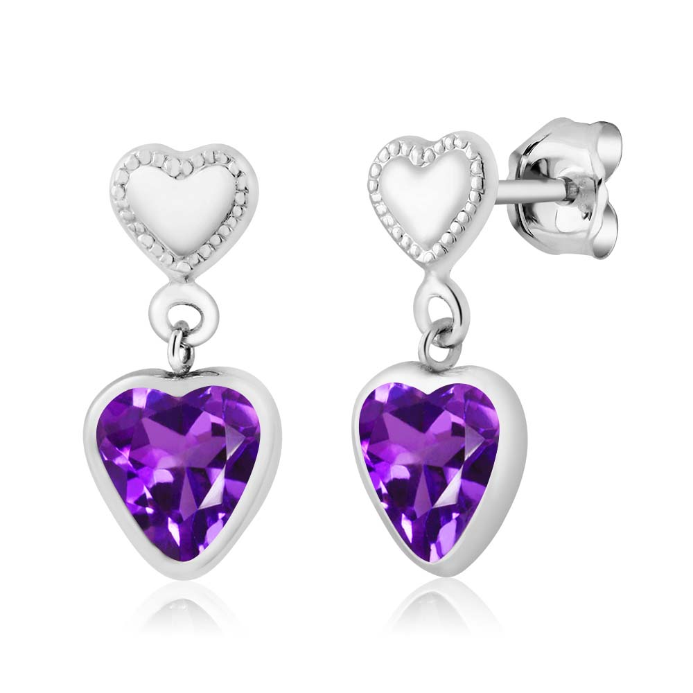 1.30 Ct Heart Shape Purple Amethyst 925 Sterling Silver Earrings