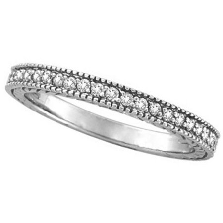 Diamond Anniversary Ring  Milgrain Wedding Band Palladium (0.31ct) Diamond Palladium Wedding Band