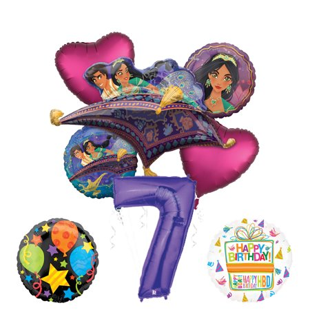 Princess Jasmine Birthday Party Supplies (Mayflower Products Aladdin 7th Birthday Party Supplies Princess Jasmine Balloon Bouquet Decorations - Purple Number)