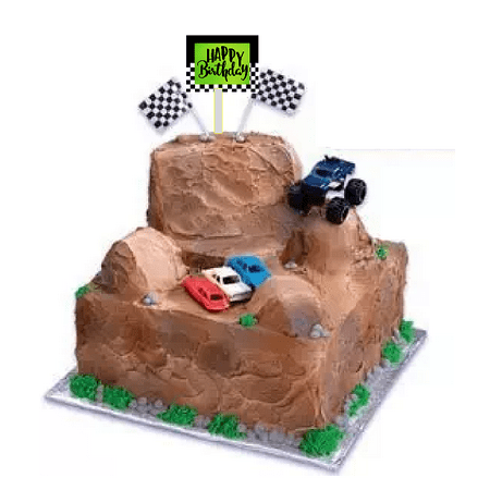Monster Truck Cake Decoration Topper with Happy birthday Plaque
