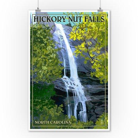 Chimney Rock State Park, North Carolina - Hickory Nut Falls - Lantern Press Poster (9x12 Art Print, Wall Decor Travel Poster)