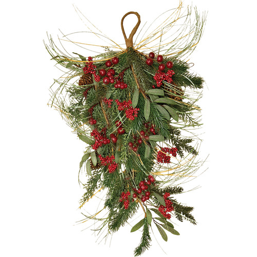 Worth Imports Mixed Pine/Berry Teardrop Floral Arrangement