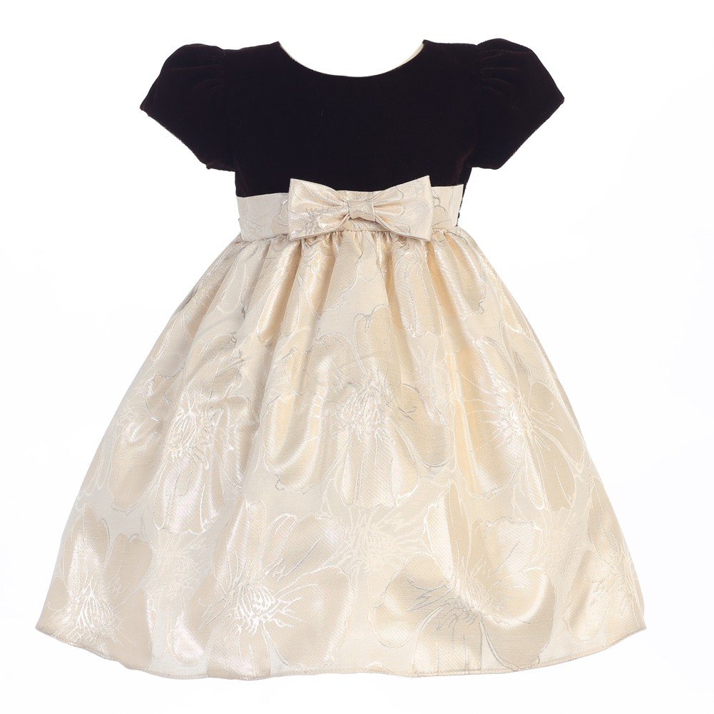 LITO Baby Girls Brown Gold Velvet Metallic Jacquard Chris...