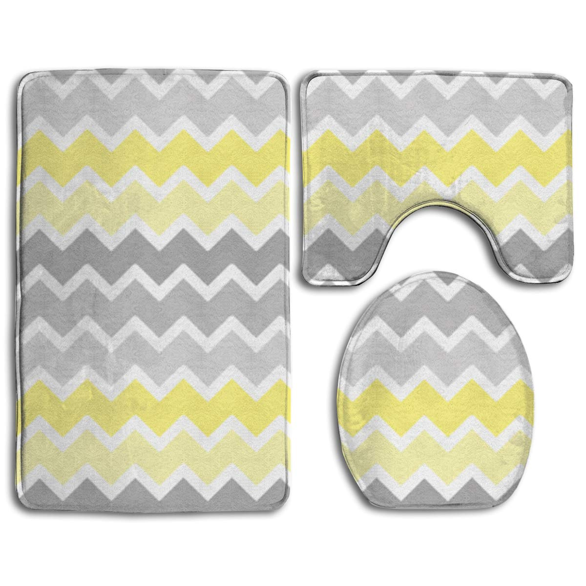 EREHome Yellow Grey Gray Patterns 9 Piece Bathroom Rugs Set Bath Rug  Contour Mat and Toilet Lid Cover