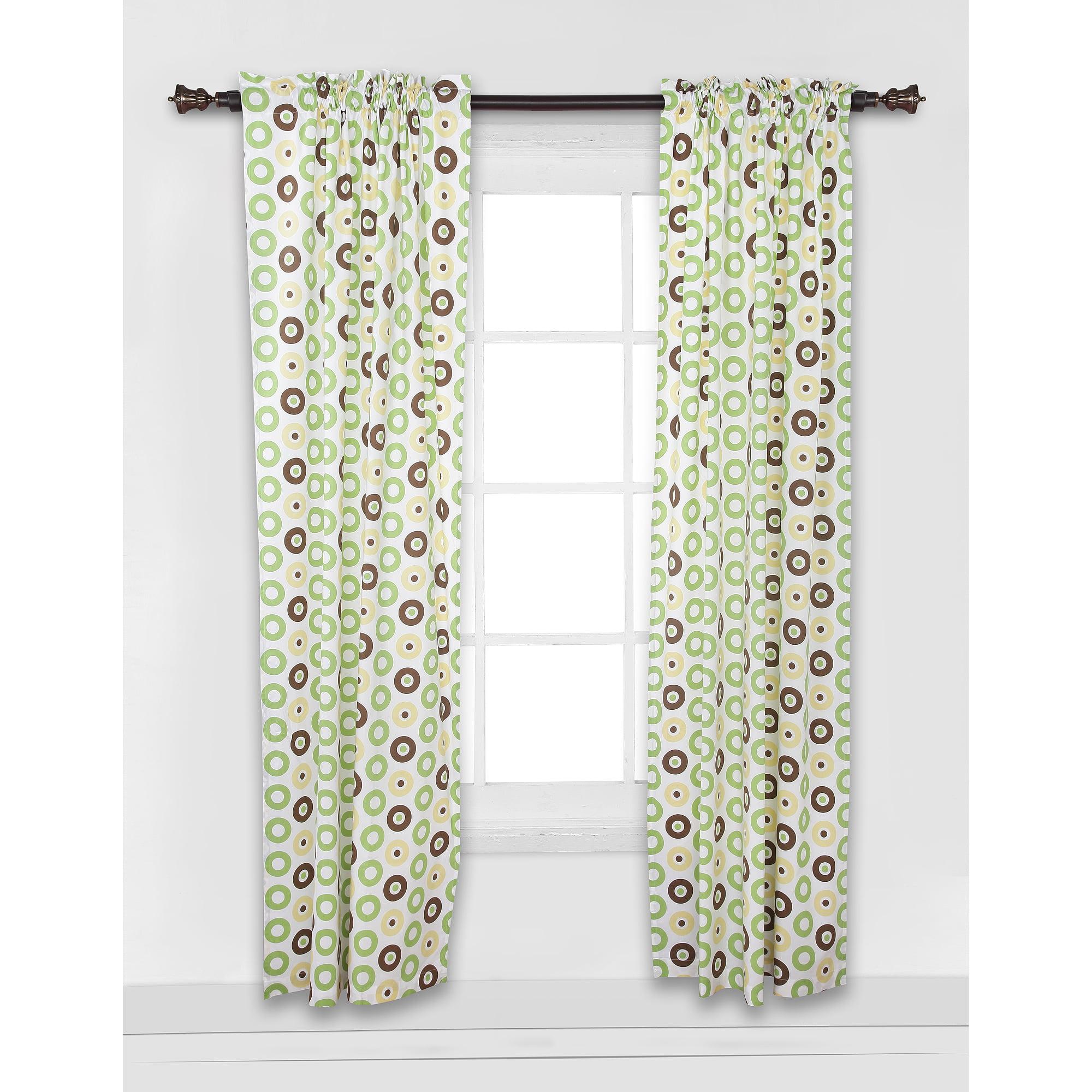 "Bacati Mod Dots Curtain Panel 42""x84"" 100% Cotton percale fabrics, Green and Chocolate"