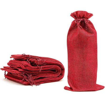 12 Pack Burlap Wine Gift Bags with Jute Drawstring, 6 x 14 inch Reusable Linen Red Wine Bottle Wrapping Bag for Anniversary, Wedding, Birthday Party, Bridal Shower, Christmas, Special Events
