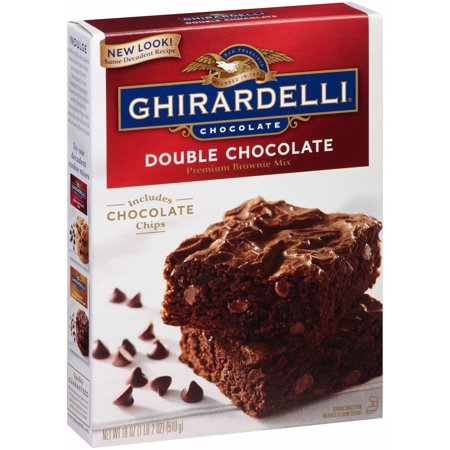 (2 pack) Ghirardelli Double Chocolate Premium Brownie Mix, 18 oz - Halloween Chocolate Brownies