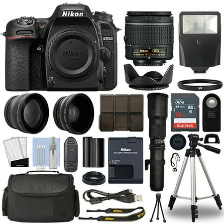 Nikon D7500 Digital SLR Camera + 4 Lens 18-55mm VR + 500mm + 16GB Telephoto Kit