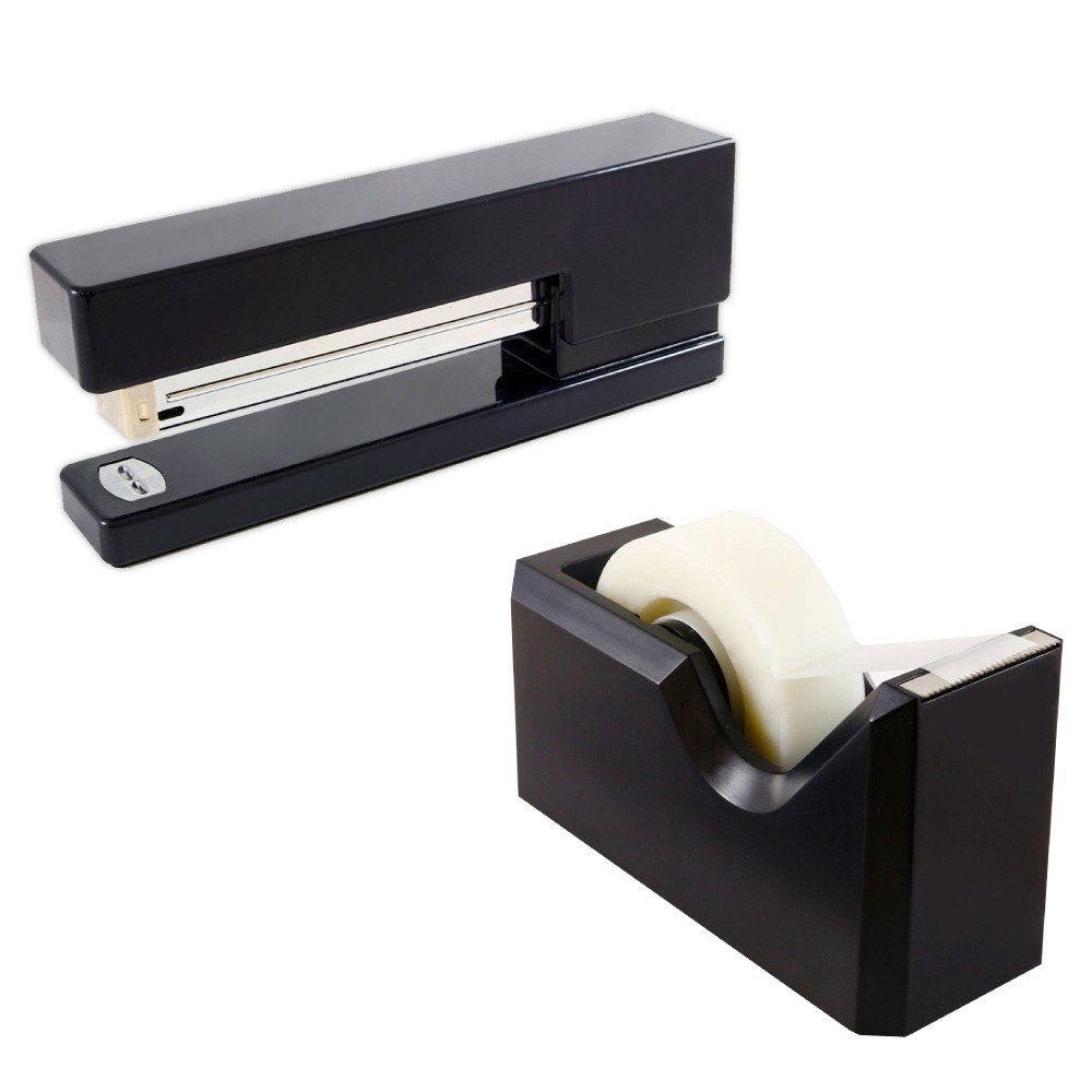 JAM Paper Office & Desk Sets - 1 Stapler & 1 Tape Dispenser - Black - 2/pack