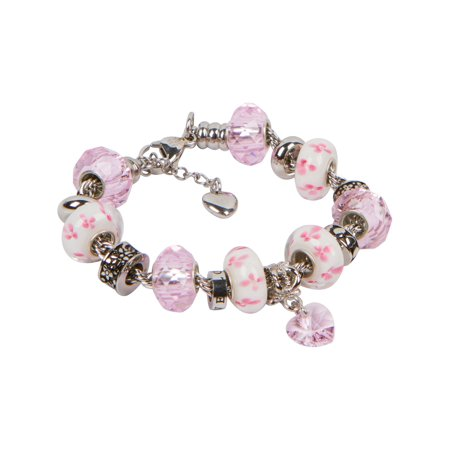 - Heart Charm Bracelet With European Bead Charms For Women and Girls, Stainless Steel Rope Chain, Love 7.5 Inch