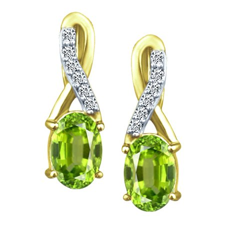1.08 tcw Natural Oval Cut Peridot & Round Diamonds Drop Earrings Solid 14k Yellow Gold