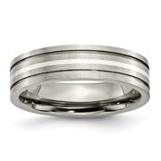 Titanium Grooved Sterling Silver Inlay 6mm Brushed Band Size 9.5