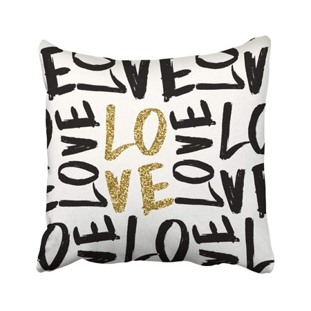 BPBOP Typographic Style Brush Lettered Text In Gold Glitter Black And White Valentine's Word Pillowcase Throw Pillow Cover 18x18 inches ()