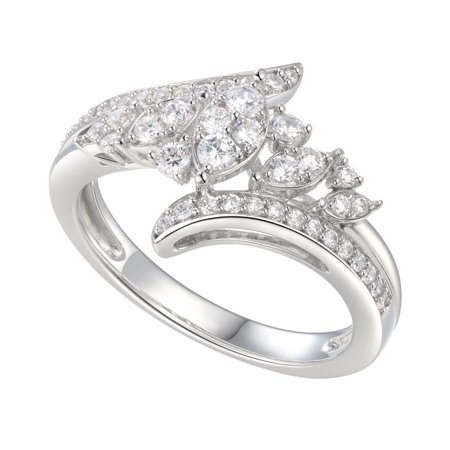 Sterling Silver Cubic Zirconia Marquise Design By-Pass Ring