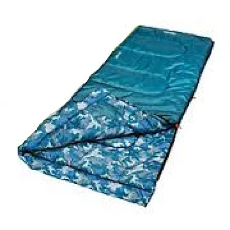 Boys Youth Rectangle Sleeping Bag Blue/Blue Camo, Thermotech Insulation: Solid fiber fill designed for warm weather sleeping By Coleman Ship from (Coleman Green Valley Cool Weather Sleeping Bag)