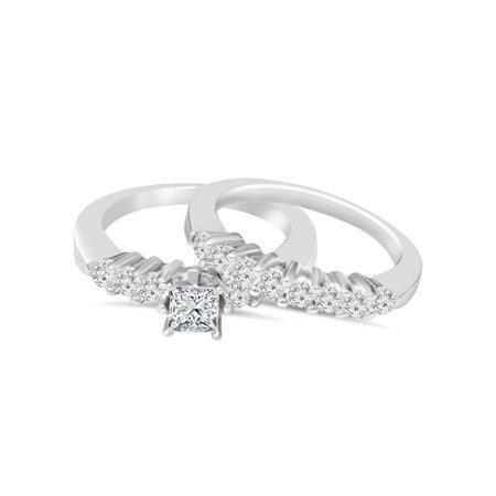 dbe7f3abd Princess Cut Diamond Engagement Ring Set 1 1/4ct Matching Wedding Bands 14k  Gold ...