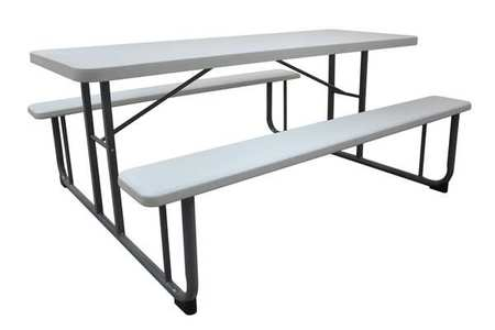 "1MDU4 72"" W x60"" D Picnic Table, White by VALUE BRAND"