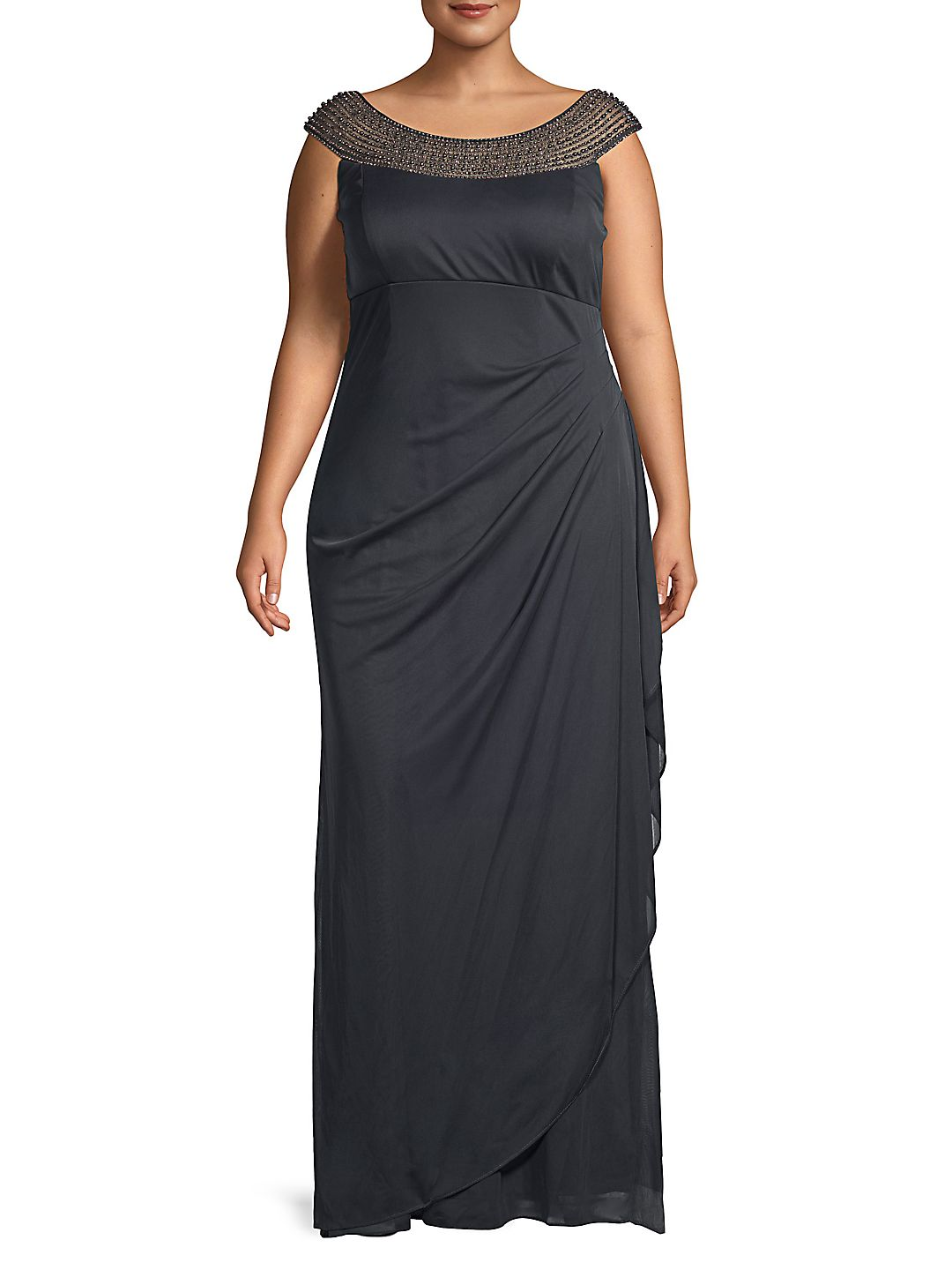 Plus Faux Pearl-Embellished Gown