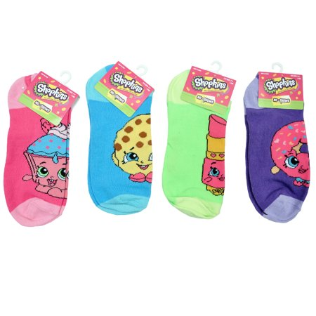 608214def93 Shopkins - Shopkins Girls Socks No Show Size 9-11 (4-PACK) - Walmart.com