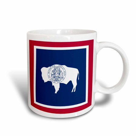3dRose Flag of Wyoming WY - US American United State of America USA. Red White Navy blue bison seal stamp, Ceramic Mug, 11-ounce United Fc Mug