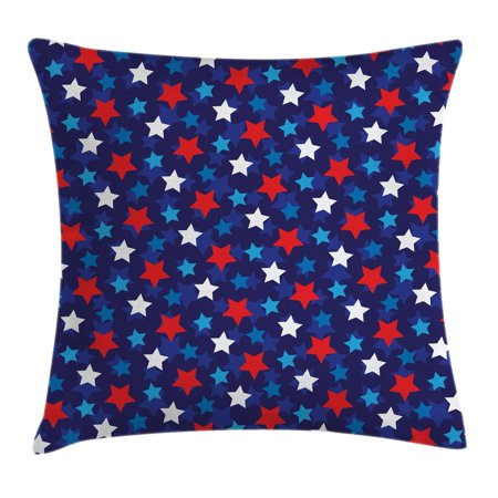 Navy Blue Decor Throw Pillow Cushion Cover, American Flag Inspired Patriotic Design with Stars Image, Decorative Square Accent Pillow Case, 16 X 16 Inches, Red White Blue and Dark Blue, by Ambesonne](Patriotic Decor)
