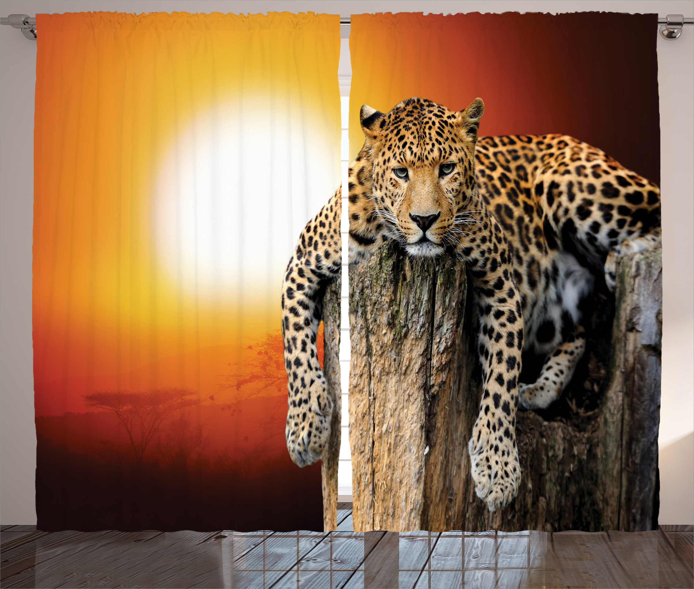 Animal Print Curtains 2 Panels Set Leopard Sitting On Dry