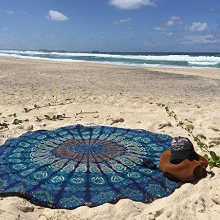 Labhanshi Indian Mandala Round Roundie Beach Throw Tapestry Hippy Boho Gypsy Cotton Tablecloth Beach Towel Round Yoga Mat - Blue](Beach Table Cloth)