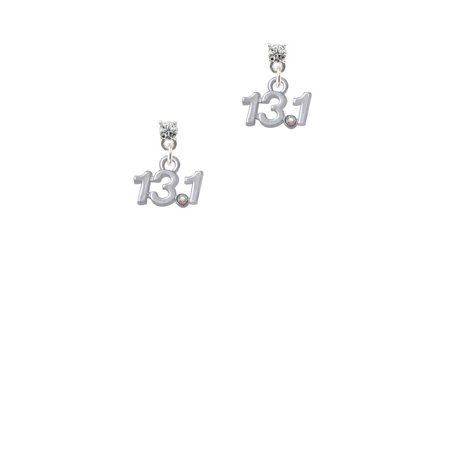 Silvertone Half Marathon - 13.1 with Clear AB Crystal Clear Crystal Post Earrings