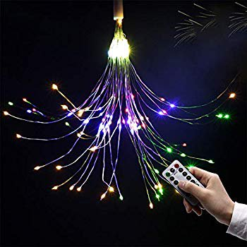 Fairy String Led Bouquet Shape Fireworks Lights, 100 LED Battery Powered Copper Wire Twinkle Micro Mini Starry Starburst Twig Light for DIY Home Tree Garden Patio Halloween Decoration -2Pack(Colorful) ()