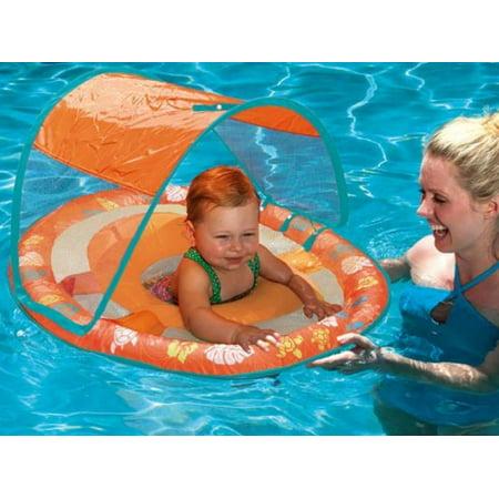 Swim Ways Baby Spring Float With Sun Canopy Orange Turtles