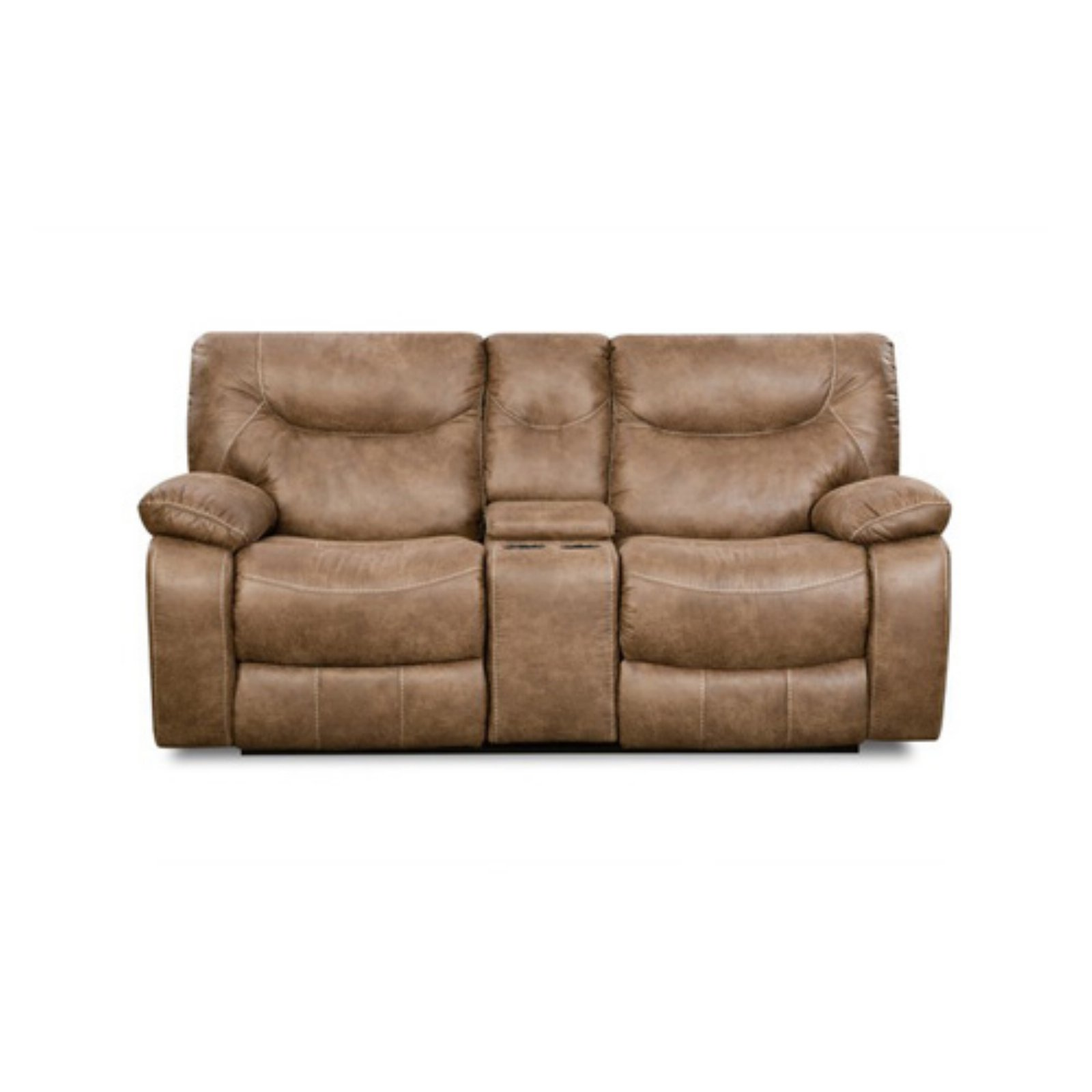 Simmons Topgun Saddle Double Motion Console Loveseat