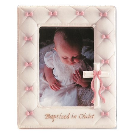 Resin-Stone Girls Pink Baptism Photo Frame Designer Jewelry by Sweet Pea (Tiffany Baptism Gift)