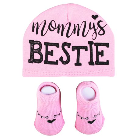bd1df60e Baby Essentials Mommy's Bestie Pink Hat and Cute Baby Booties 0-6M Baby  Shower Gift - Best Baby Gift - Favorite Unique Newborn Cute Baby Shower  Gift ...